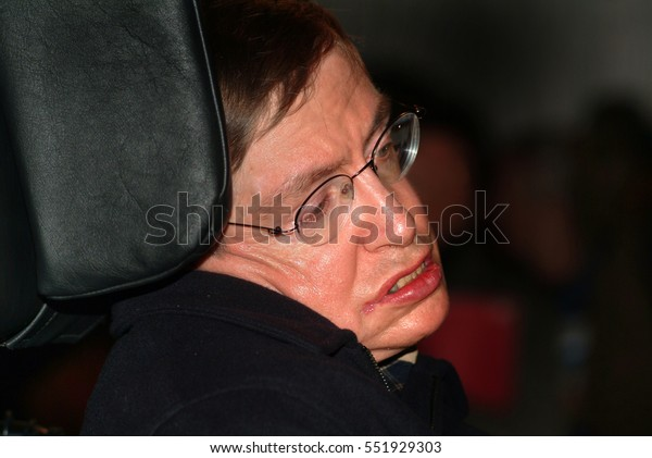 Stephen William Hawking, CH, CBE, FRS, FRSA is a British theoretical physicist, attending an â??against warâ?� demo at Trafalgar Square / London / UK / 22/02/2002