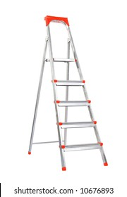 Step-ladder. Isolated on white.
