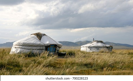 Steppe. The dry grass. Low gray sky. The yurts of the nomads.