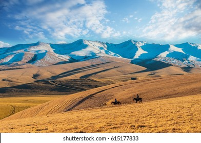 Steppe landscape with Tien Shan Mountains, Kazakhstan