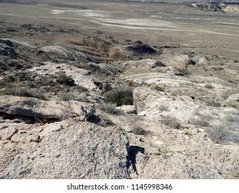 Steppe rocks. Cavity. Arid landscape. Kazakhstan. Mangistau region