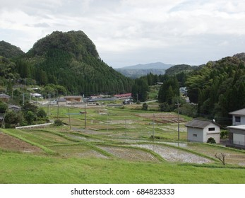Stepped farm land in a valley in Kagoshima prefecture, Japan
