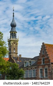 stepped gable house and tower of town hall. Veere, The Netherlands