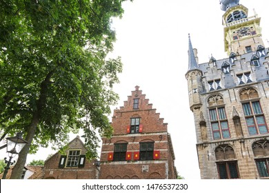 stepped gable house and Town hall of Veere,  The Netherlands