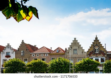 stepped gable houses in  Sas Van Gent, The Netherlands