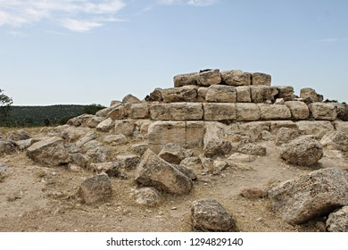 Stepped, pyramid-shaped structure located in the ancient cemetery of Midras Ruins, monument to individuals buried in the cave below it. These types of monuments are known in Hebrew as a nefesh (soul)