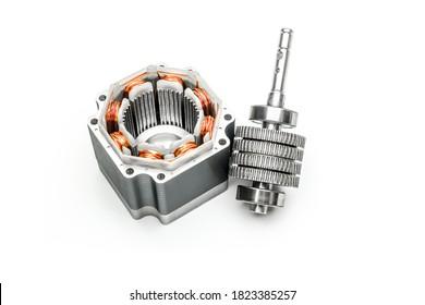 Stepper motor, disassembled, on white