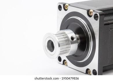 Stepper motor isolated above white background.