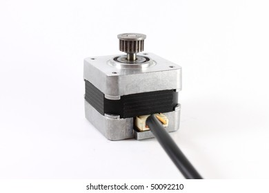 Stepper motor with power cable attached, on white background