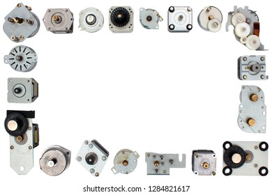 Stepper motors isolated on white background
