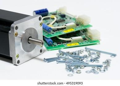 stepping motor and set screws