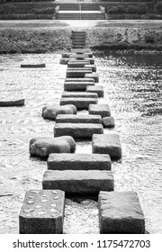 Stepping stones across the Kamo river, Kyoto, Japan.