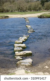 Stepping stones across the River Ogmore in South Wales UK