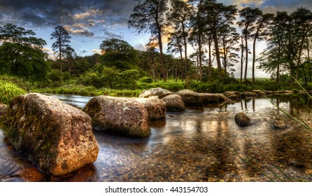 Stepping stones on the river dart on dartmoor