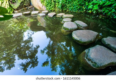 Stepping stones path over a pond