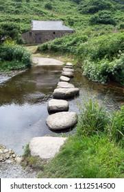 Stepping Stones at Penberth Cove, Cornwall UK