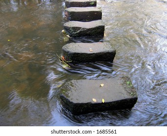 Stepping stones in river crossing point.