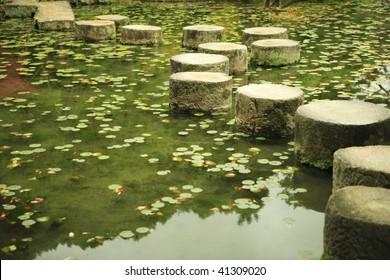 Stepping-stone at the gardarden of Heian jingu shrain in kyouto Japan
