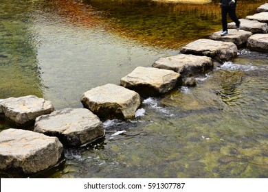 stepping-stone , Stream of interspersed with workdays, Korean traditional stepping stone Korean traditional style, interspersed with workdays