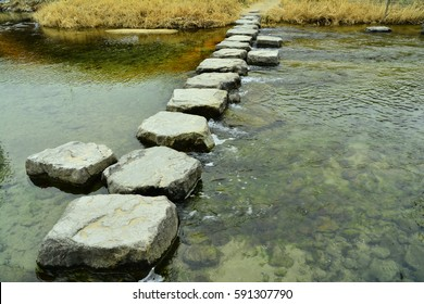 stepping-stone , Stream of interspersed with workdays, Korean traditional stepping stone ,Korean traditional style, interspersed with workdays