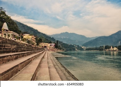 The steps of the ashram at the shore of the sacred river Ganges. India, Rishikesh