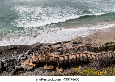 Steps for beach access to South Carlsbad State Beach in Carlsbad, California.