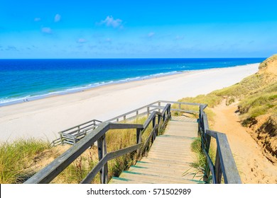 Steps to beautiful Kampen beach, Sylt island, Germany