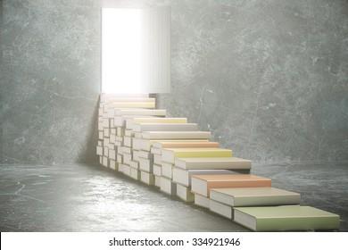 Steps from books into the open door 3D Render