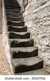 Steps in castle in Cahors, France
