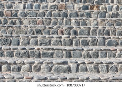 steps from a cobblestone, stone background
