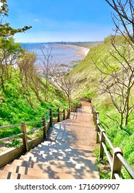 Steps down to beach. Bridlington in the distance