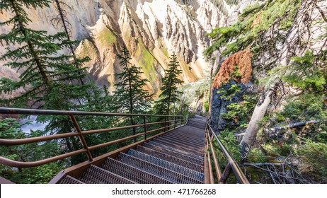 Steps down to the bottom of the gorge. Uncle Toms Trail on The Grand Canyon of the Yellowstone National Park, Wyoming
