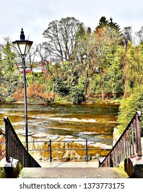 Steps down to the river Dee Llangollen