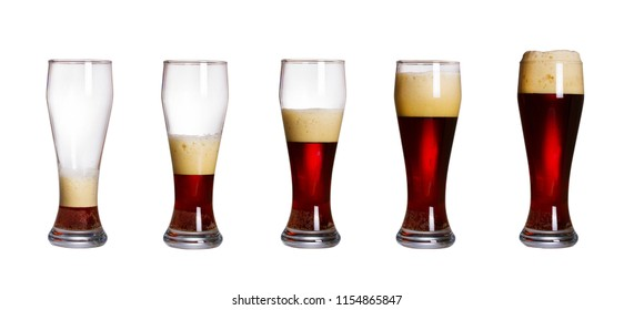 Steps of filling glass of beer, isolated on white background. Set of glasses of cold dark beer with foam