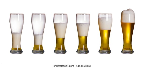 Steps of filling glass of beer, isolated on white background. Set of glasses of cold light beer with foam