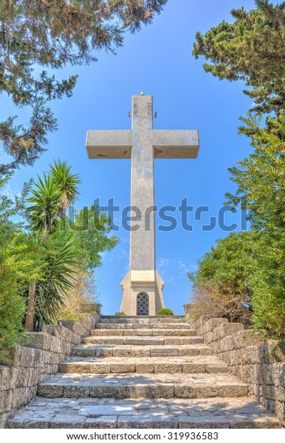 Steps to the giant cross on the observation deck at  Mount Filerimos Rhodes Dodecanese Greece Europe