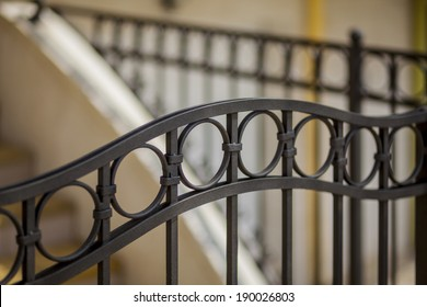 steps of the house, detail of wrought iron railing with beautiful ornaments