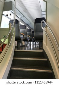 Steps inside empty train car