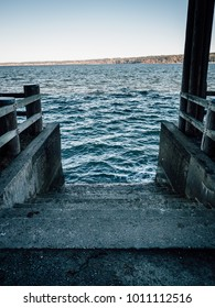 Steps into the Pudget sound in winter