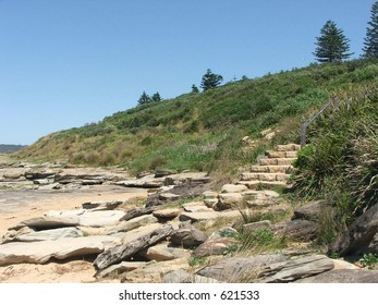 steps leading up from a beach