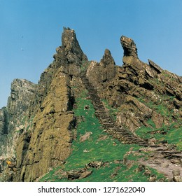 The steps leading up to the beehive huts circa 800 AD on Skellig Michael off the Kerry coast, Ireland.  Star Wars film location.