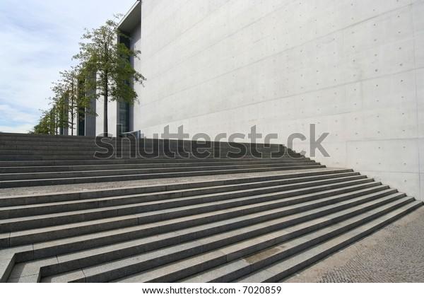 Steps leading up to Bundestag buildings in Berlin