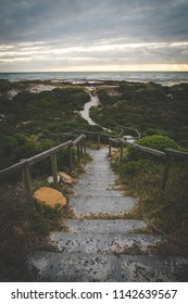 Steps leading down to the beach at Pearly beach in the overberg in south africa
