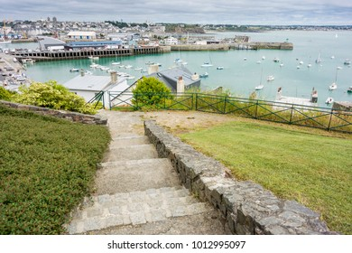 Steps leading down to Granville Harbour, Normandy, France
