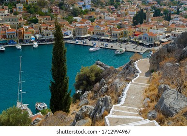 Steps leading down to Symi Harbour, a Greek island in the Dodecanese.