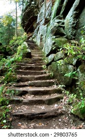 Steps Leading Up To The Rock House, Hocking Hills, Ohio, A Cave Structure Inside Of A Cliff Face