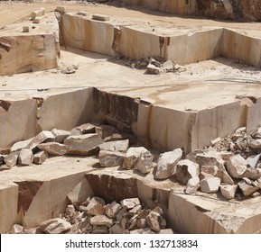 Steps in a marble quarry left after the extraction of the blocks, Alentejo, Portugal