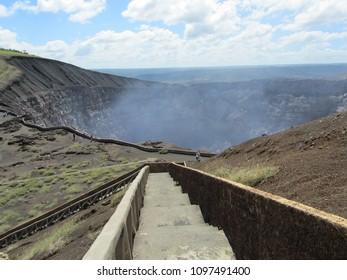 Steps to Masaya volcano crater