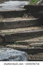 Steps outdoors wooden pathway