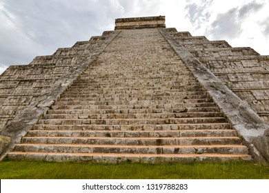 Steps of the Temple of Kukulkan - a Mesoamerican step-pyramid that is the main tourist attraction at the Chichen Itza archaeological site in Yucatan, Mexico.